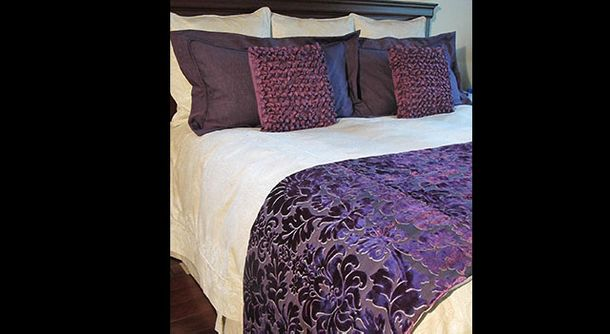 purple & white bedding